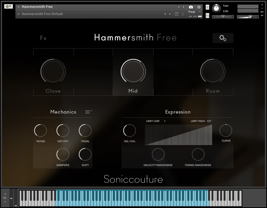 Hammersmith Free (Model D Grand Piano) by Soniccouture - Free Muted Bass Virtual Instrument for Kontakt - Product GUI